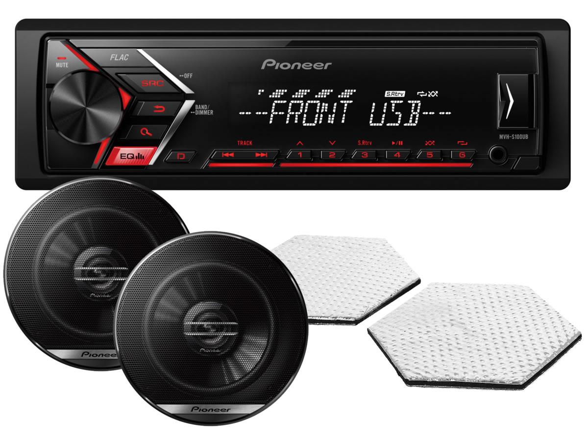 Pioneer MVH-S100UB + автоакустика Pioneer + акустическая линза STP CrystalSound