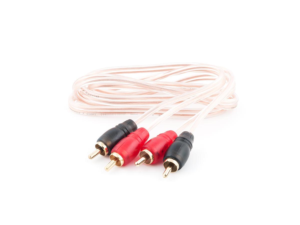 4104)SWAT SIL-210 межблочный кабель 2RCA-2RCA, 1.0 метр, коаксиал, прозрачный, медь