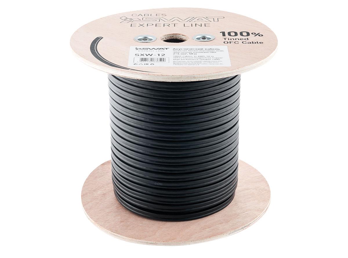 4101)SWAT SXW-12 акустический кабель 12Ga, 2*4,0м2, черный, луженая медь, метровая разметка, 50м.