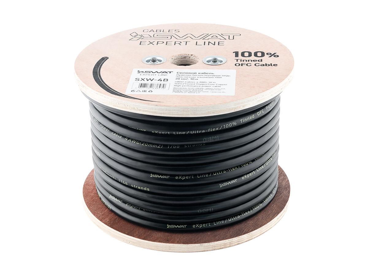 4093)SWAT SXW-4B силовой кабель 4Ga, 20мм2, черный, луженая медь, метровая разметка, 30м.