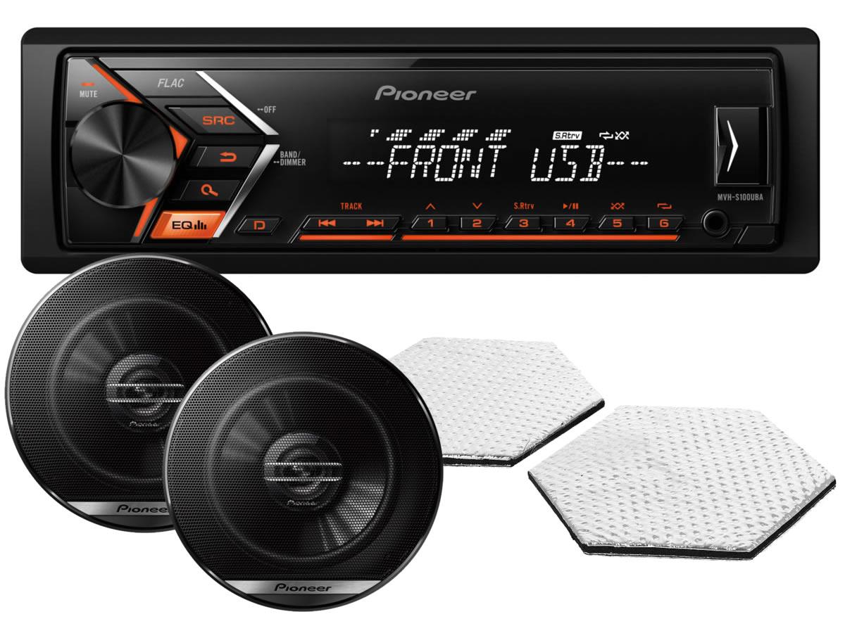 6195)Pioneer MVH-S100UBA + автоакустика Pioneer + акустическая линза STP CrystalSound