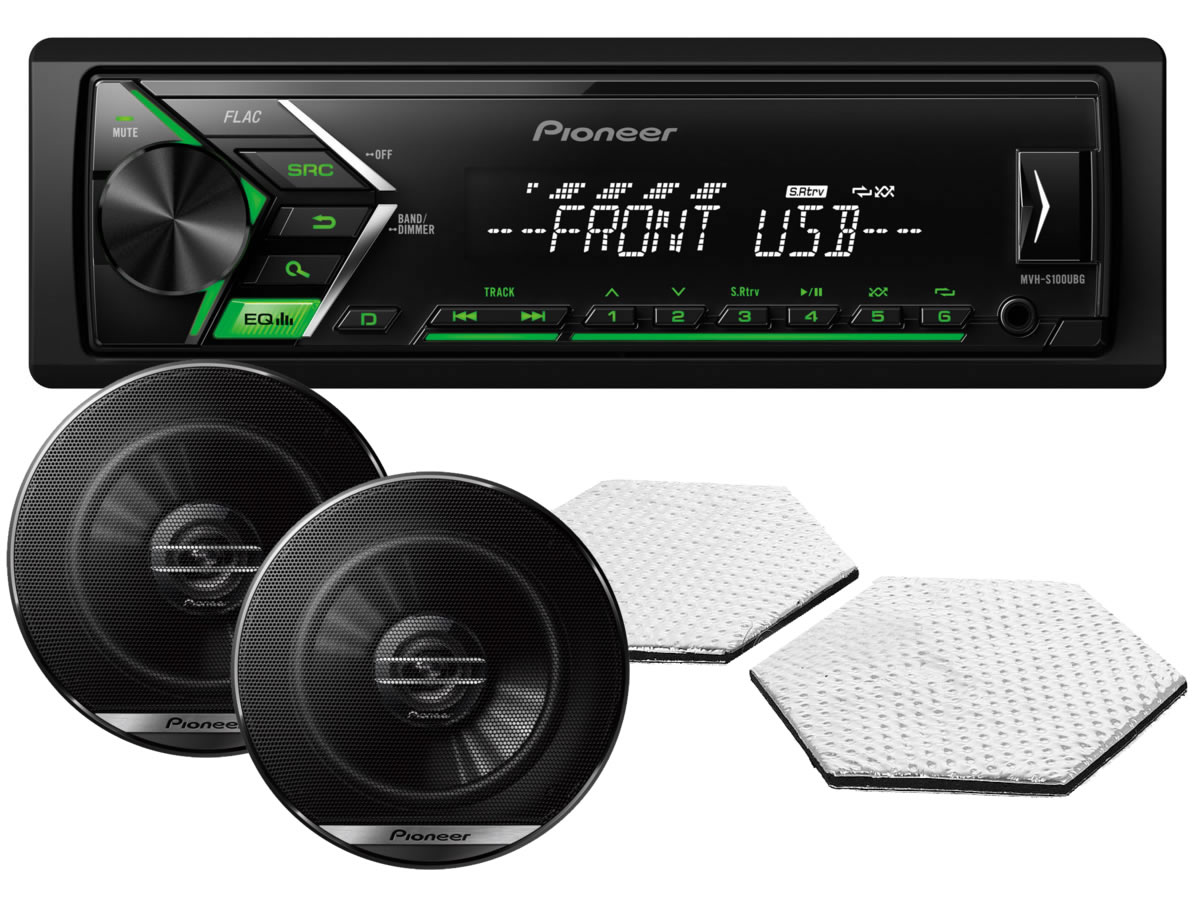 6196)Pioneer MVH-S100UBG + автоакустика Pioneer + акустическая линза STP CrystalSound