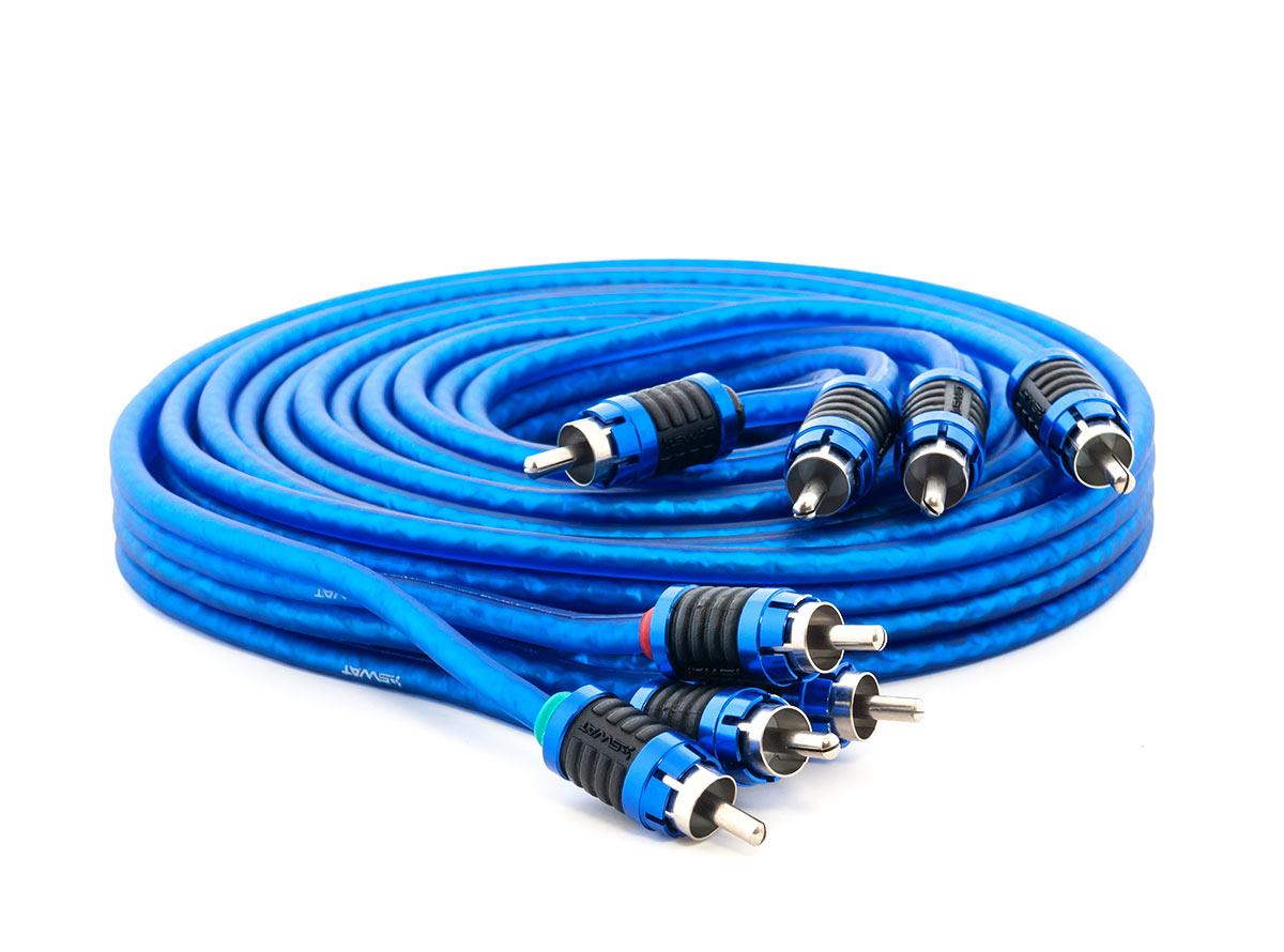 6109)SWAT SIP-410 межблочный кабель 4RCA-4RCA, 1.0 метров, витая пара, 2 экрана, медь