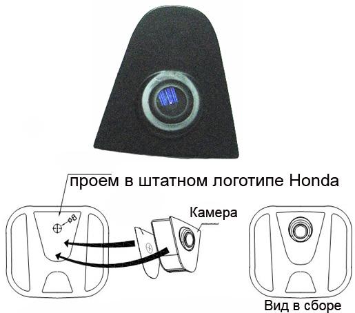 1.HONDA Фронтальная камера (Incar VDC-HF)