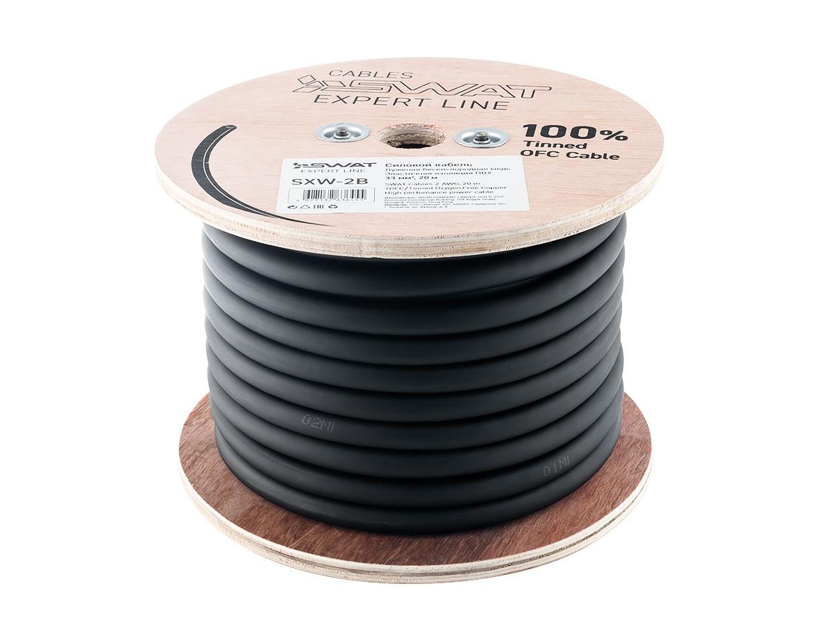 4091)SWAT SXW-2B силовой кабель 2Ga, 35мм2, черный, луженая медь, метровая разметк 20м.